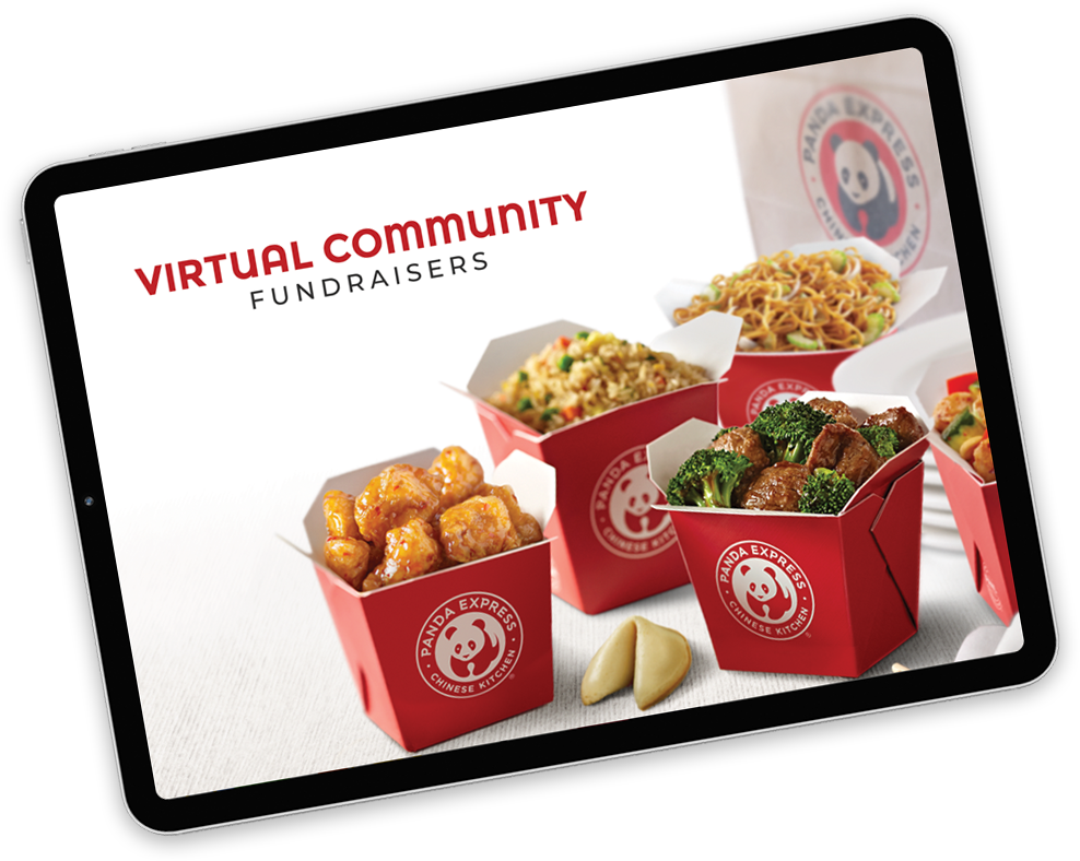 Virtual Community Fundraisers page on tablet